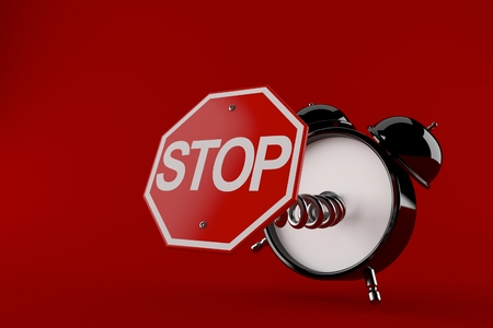 Alarm clock with stop sign isolated on red background. 3d illustration