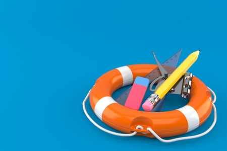 School supplies with life buoy isolated on blue background. 3d illustration