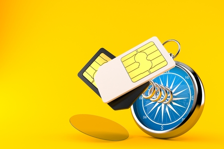 SIM cards with compass isolated on orange background. 3d illustration