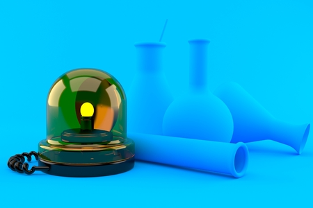 Chemistry background with emergency siren in blue color. 3d illustration Banque d'images - 101754945