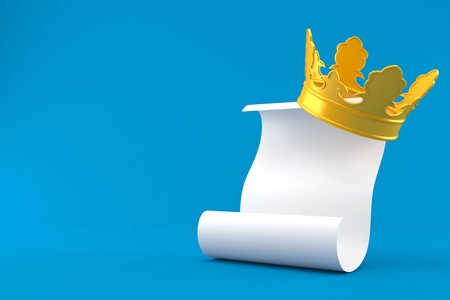 Golden crown with blank sheet of paper isolated on blue background. 3d illustration