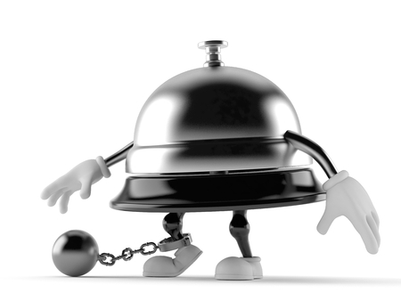 Hotel bell character with prison ball isolated on white background. 3d illustration