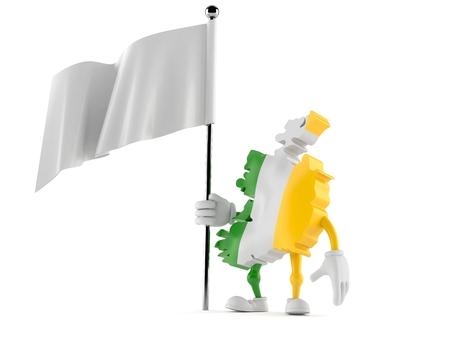 Ireland character holding blank flag isolated on white background. 3d illustration Stock Photo