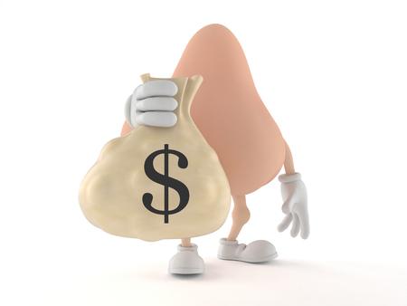 Nose character holding money bag isolated on white background. 3d illustration