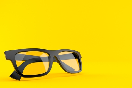 Glasses isolated on orange background. 3d illustration