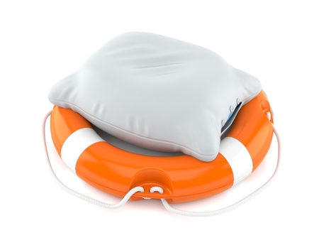 Pillow with life buoy isolated on white background. 3d illustration Stock Photo