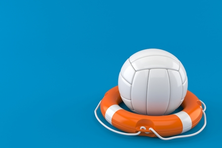 Volleyball ball with life buoy isolated on blue background. 3d illustration