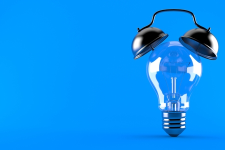Light bulb with alarm clock isolated on blue background. 3d illustration Stock Photo