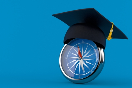 Mortarboard with compass isolated on blue background. 3d illustration
