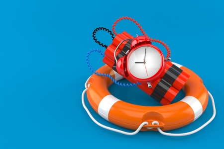 Time bomb with life buoy isolated on blue background. 3d illustration Foto de archivo