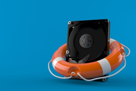Hard drive support isolated on blue background. 3d illustration