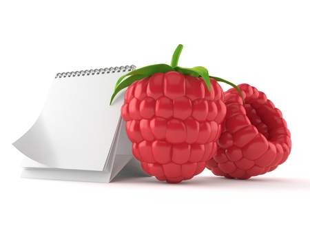 Raspberry with blank calendar isolated on white background. 3d illustration