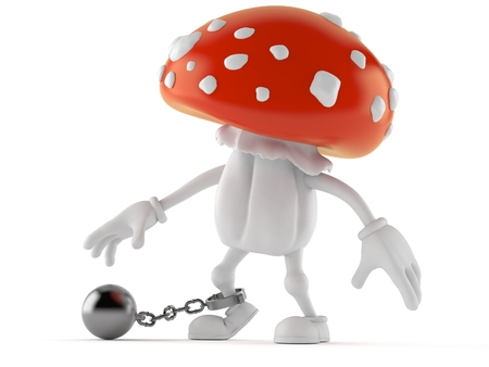 Toadstool character with prison ball isolated on white background. 3d illustration Stock Photo