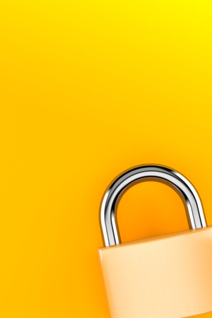 Padlock on orange background. 3d illustration