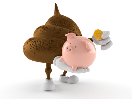 Poop character holding piggy bank isolated on white background. 3d illustration