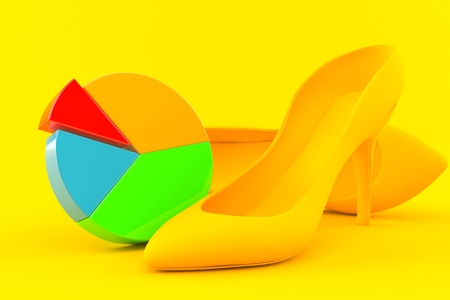 Femininity background with pie chart in orange color. 3d illustration