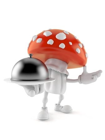 Toadstool character holding catering dome isolated on white background. 3d illustration Banco de Imagens