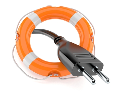 Electric plug with life buoy isolated on white background. 3d illustration