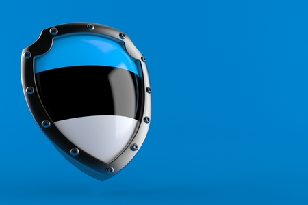 Protective shield with estonian flag isolated on blue background. 3d illustration