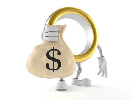 Wedding ring character holding money bag isolated on white background. 3d illustration