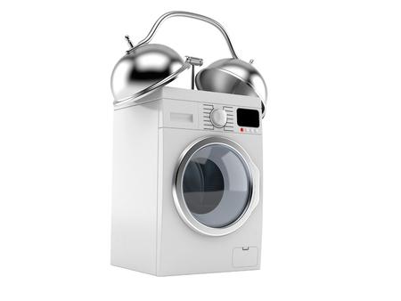 Washing machine alert concept isolated on white background. 3d illustration Reklamní fotografie