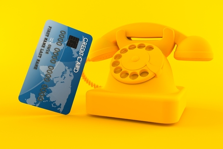 Communication background with credit card in orange color. 3d illustration Stock Photo