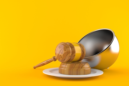 Gavel with catering dome isolated on orange background. 3d illustration Stok Fotoğraf