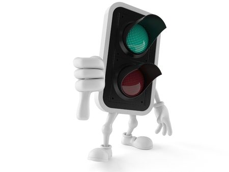 Green traffic light character with thumbs down gesture isolated on white background. 3d illustration Stock Photo