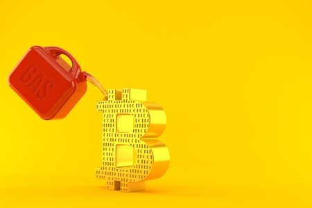 Bitcoin symbol with gasoline can isolated on orange background. 3d illustration