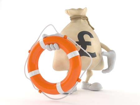 Pound money bag character holding life buoy isolated on white background. 3d illustration Stock Photo