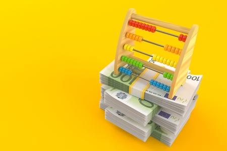 Wooden abacus on stack of money isolated on orange background. 3d illustration Stock Photo