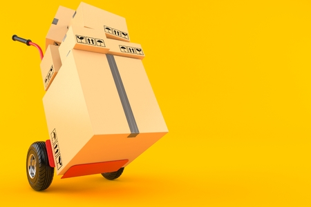 Hand truck with packages isolated on orange background. 3d illustration