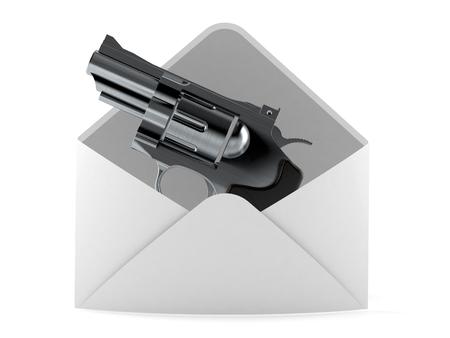 Gun inside envelope isolated on white background. 3d illustration Stok Fotoğraf - 102286400
