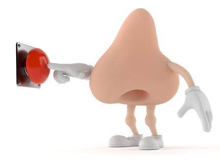 Nose character pushing a button isolated on white background. 3d illustration Stock Photo