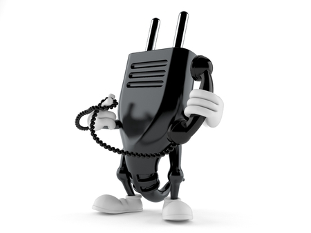 Electric plug character holding a telephone handset isolated on white background. 3d illustration