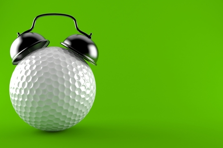 Golf ball alert isolated on green background. 3d illustration