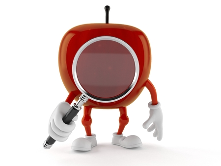 Apple character looking through magnifying glass isolated on white background. 3d illustration Stock Photo