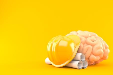 Brain with blueprints and hardhat isolated on orange background. 3d illustration
