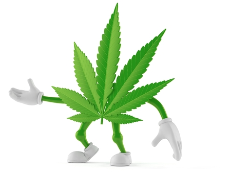 Cannabis character isolated on white background. 3d illustration Stock Photo