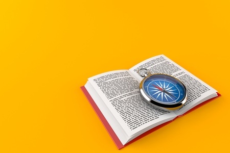 Compass on open book isolated on orange background. 3d illustration 写真素材
