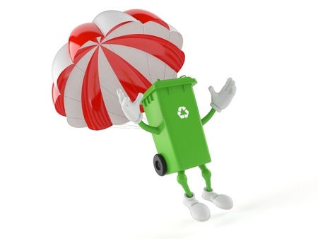 Dustbin character with parachute isolated on white background. 3d illustration