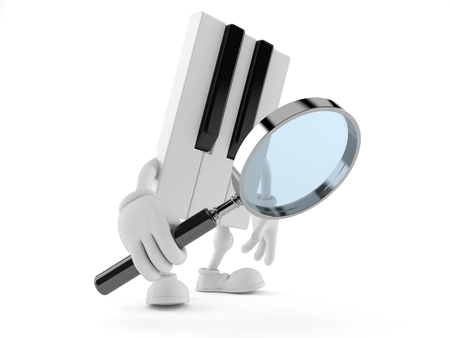 Piano character looking through magnifying glass isolated on white background. 3d illustration