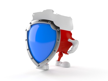 Poland character with protective shield isolated on white background. 3d illustration
