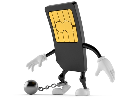 SIM card character with prison ball isolated on white background. 3d illustration
