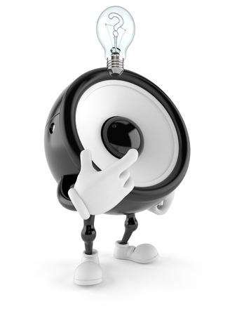 Speaker character thinking isolated on white background. 3d illustration