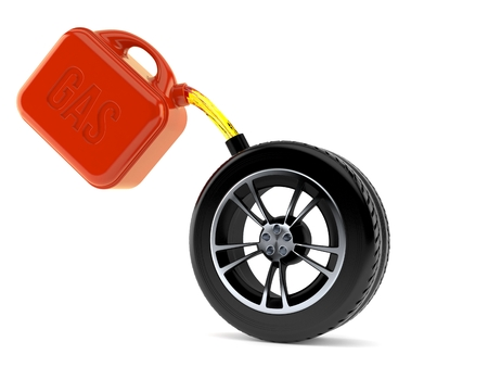 Car tire with gasoline can isolated on white background. 3d illustration