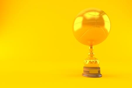 Basketball ball trophy isolated on orange background. 3d illustration
