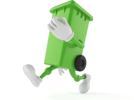 Dustbin character running isolated on white background. 3d illustration Standard-Bild