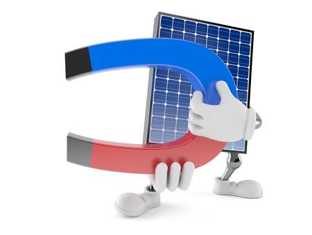 Photovoltaic panel character holding horseshoe magnet isolated on white background. 3d illustration Archivio Fotografico - 102497517