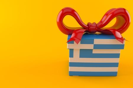 Gift with greek flag isolated on orange background. 3d illustration Stock Photo
